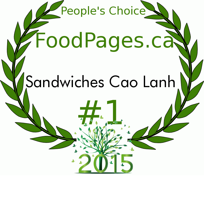 Sandwiches Cao Lanh FoodPages.ca 2015 Award Winner