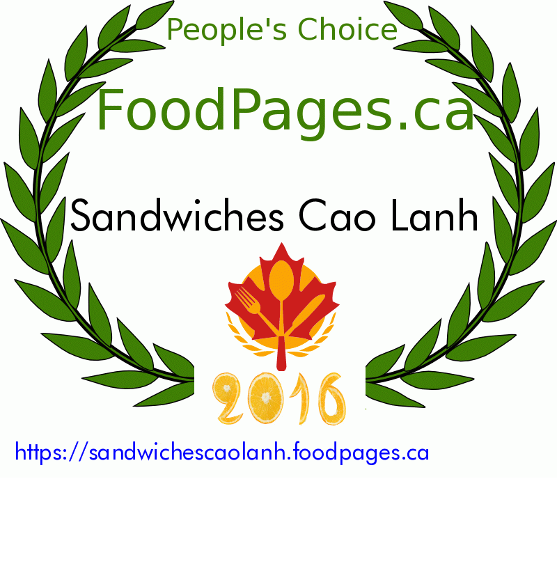 Sandwiches Cao Lanh FoodPages.ca 2016 Award Winner